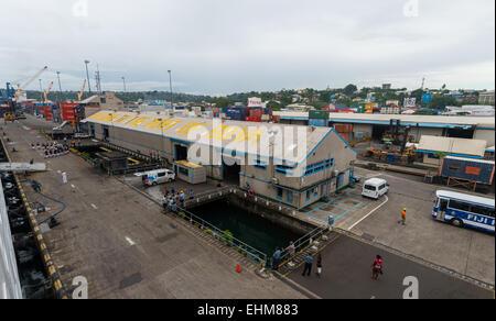 The port of Suva in Fiji. - Stock Photo