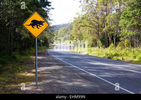 Australian road sign warning of Tasmanian Devils crossing, Tasmania, Australia - Stock Photo