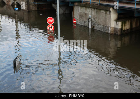Traffic signs flooded by the Elbe River in Usti nad Labem, Northern Bohemia, Czech Republic, on June 5, 2013. - Stock Photo