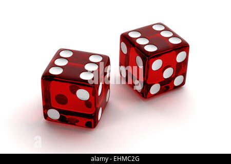 Two red semi-transparent dice showing the number 6, conceptual image for luck or success - Stock Photo