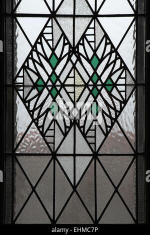 Art Nouveau window by Czech artist Frantisek Kysela in the Museum of East Bohemia in Hradec Kralove, Czech Republic.