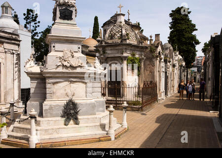 Argentina, Buenos Aires, Recoleta Cemetery, memorials and tombs - Stock Photo