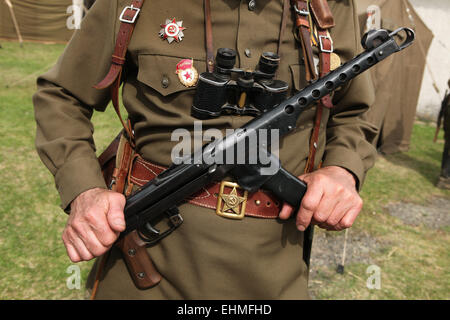 Soviet military decoration on the uniform seen during the re-enactment of the Battle at Orechov (1945) near Brno, - Stock Photo