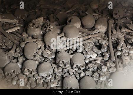 Human bones and skulls in the Sedlec Ossuary near Kutna Hora, Czech Republic. - Stock Photo