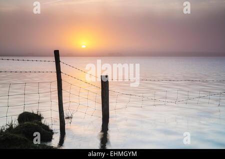 Sunrise over Crowdy reservoir on Bodmin Moor