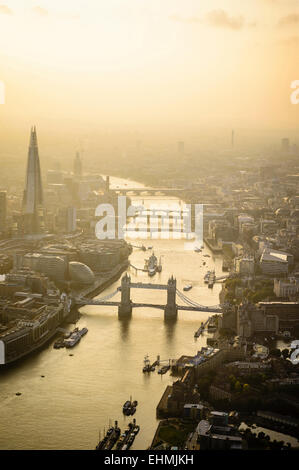Aerial view of London cityscape and river, England - Stock Photo