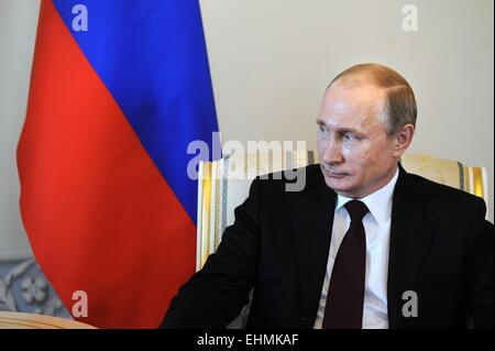 (150316) -- MOSCOW, March 16, 2015 (Xinhua) -- Russian President Vladimir Putin meets with his visiting Kyrgyz counterpart - Stock Photo