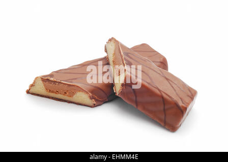 chocolate with marzipan on white - Stock Photo