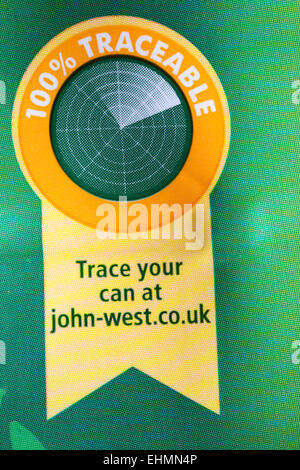 100% traceable trace your can information on tin of John West Tuna Chunks - Stock Photo