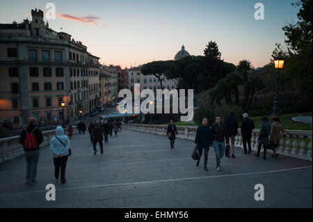 Tourists on Michelangelo's Cordonata staircase, Piazza del Campidoglio, Lazio, Italy. - Stock Photo