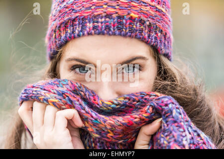Portrait of woman in winter. - Stock Photo