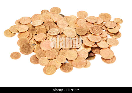 USSR old coins isolated on white background - Stock Photo