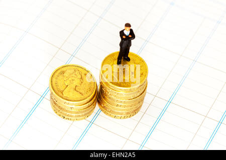 Accounts accountant accounting pound coins on spreadsheet business bookwork tax vat isolated cut out cutout white - Stock Photo
