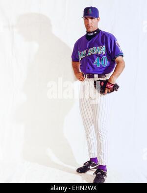 PHOENIX , AZ – MARCH 28: Baseball player Andy Benes in Phoenix, Arizona on March 28, 1998. - Stock Photo