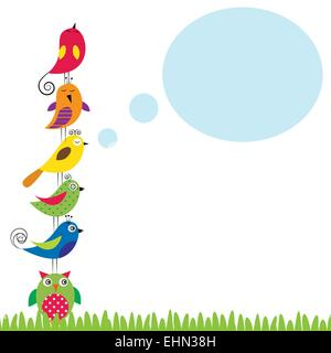 Summer background with colorful and funny birds
