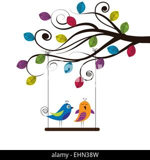 Summer tree with colorful and funny birds