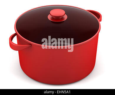 single red cooking pan isolated on white background - Stock Photo