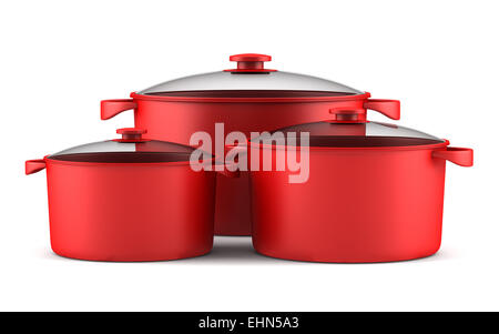 three red cooking pans isolated on white background - Stock Photo