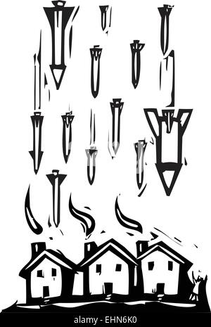 Woodcut style image of missiles falling on houses. - Stock Photo