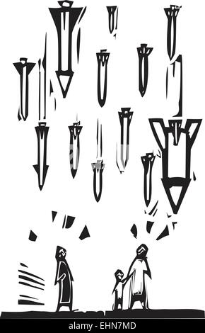 Woodcut style image of missiles falling on civilians. - Stock Photo