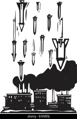 Woodcut style image of missiles falling on a factory - Stock Photo
