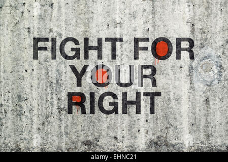 Fight For Your Right Graffiti on Cement Concrete Wall. - Stock Photo