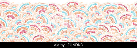 Textured geometric doodle horizontal seamless pattern border - Stock Photo