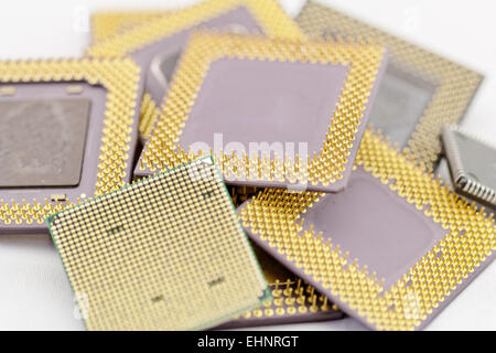 close up of many different cpu processors - Stock Photo