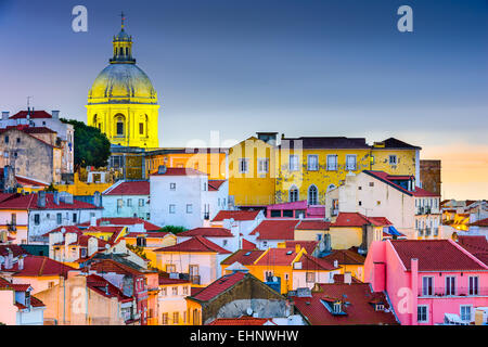 Lisbon, Portugal skyline at Alfama, the oldest district of the city with the National Pantheon Dome. - Stock Photo
