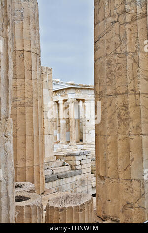 The Temple of Athena Nike is built above the Propylaea at the entrance to the Acropolis. - Stock Photo