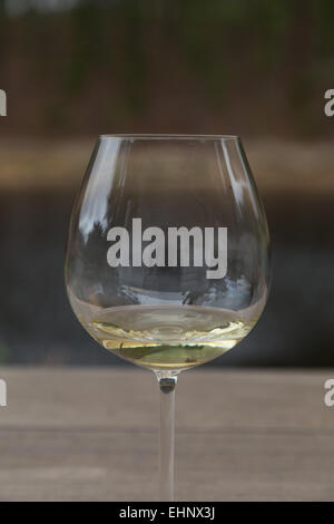 Reflections and distortion in a glass of white wine during wine tasting at a South African vineyard near Hermanus. - Stock Photo