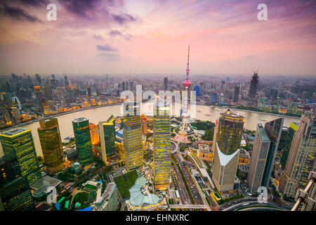 Shanghai, China cityscape overlooking the Financial District and Huangpu River. - Stock Photo