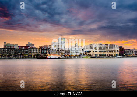 Savannah, Georgia, USA downtown riverfront skyline. - Stock Photo