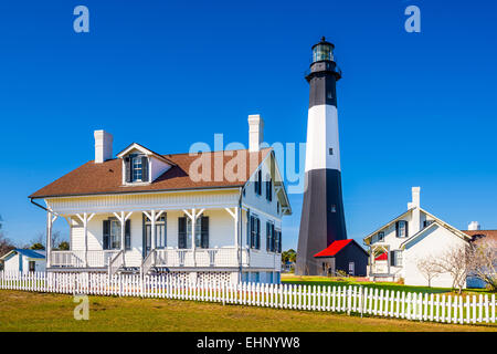 Tybee Island Light House of Tybee Island, Georgia, USA. - Stock Photo