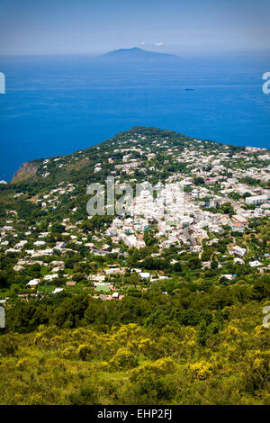 View from the top of Monte Solaro, Capri, with the Bay of Naples and Vesuvius behind, Italy - Stock Photo