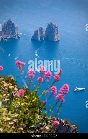 Stunning views of the Faraglioni Rocks from the top of Monte Solaro, Capri, Bay of Naples, Italy - Stock Photo
