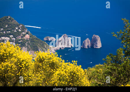 Stunning views from the top of Monte Solaro, Capri, Bay of Naples, Italy - Stock Photo