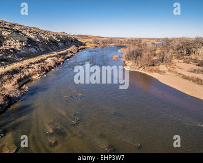 aerial view of South Platte River at Wildcat Mound in eastern Colorado below Platteville, a typical winter scenery - Stock Photo