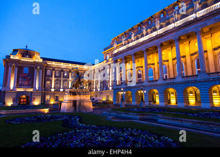 Buda Castle or Budapest Royal Palace at dusk, Castle Hill, Budapest, Hungary - Stock Photo