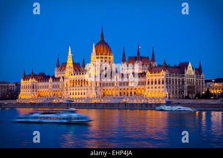 The Parliament Building seen from across the Danube River, Budapest, Hungary - Stock Photo