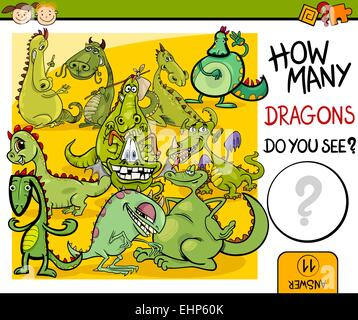 Cartoon Illustration of Education Counting Game for Preschool Children - Stock Photo