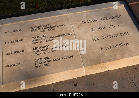 Graves of Soviet soldiers fallen during the Hungarian Uprising (1956) at the Kerepesi Cemetery in Budapest, Hungary. - Stock Photo