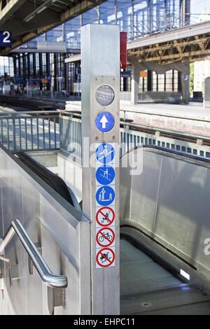 Escalator train station - Stock Photo