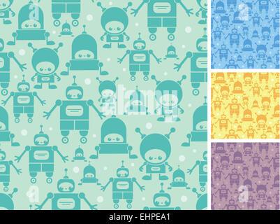 Cute cartoon robots seamless pattern background - Stock Photo