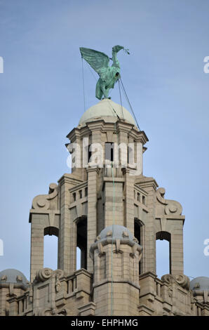 Liver Bird atop of the Liver Building in Liverpool, England - Stock Photo