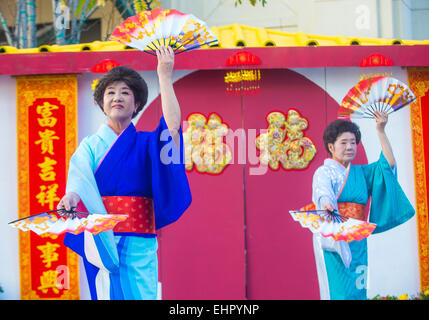 Japanese folk dancers perform at the Chinese New Year celebrations held in Las Vegas - Stock Photo