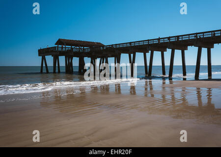 The beach at tybee island georgia stock photo royalty for Tybee island fishing pier
