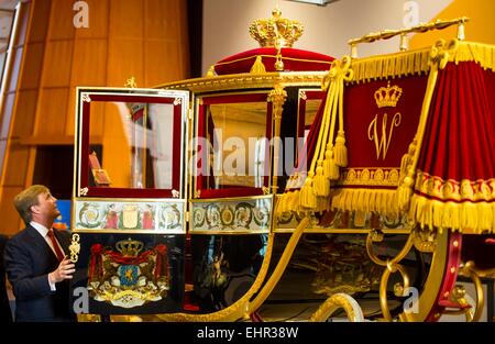 King Willem-Alexander of The Netherlands unveils the restored Glass Coach at the Louwman Museum in The Hague, The - Stock Photo
