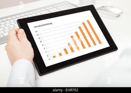 development of sales (german) on tablet - Stock Photo