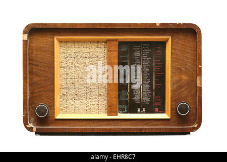 very old wooden radio isolated over white background - Stock Photo